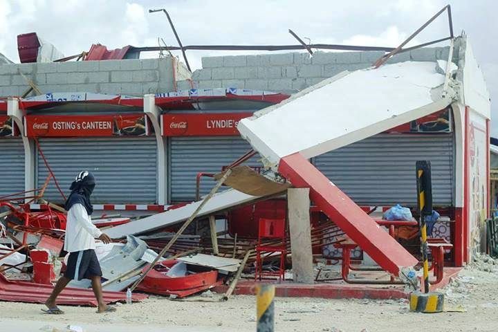 One of the newly-built stores in Bantayan Market were torn into pieces.