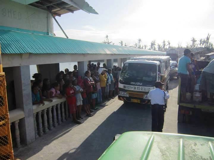 This is not in Hagnaya port, but in Bantayan. Notice how busy the road are with vehicles containing relief goods.
